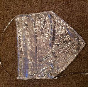 Silver Sequined Backless
